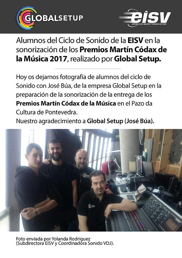 Alumnos de EISV en la sonorización los Premios Martín Códax de la Música 2017